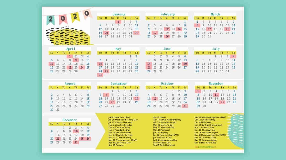 Free Printable 2020 Calendar With Holidays | Holiday List Intended For Santa Teresa High School Calendar 2021