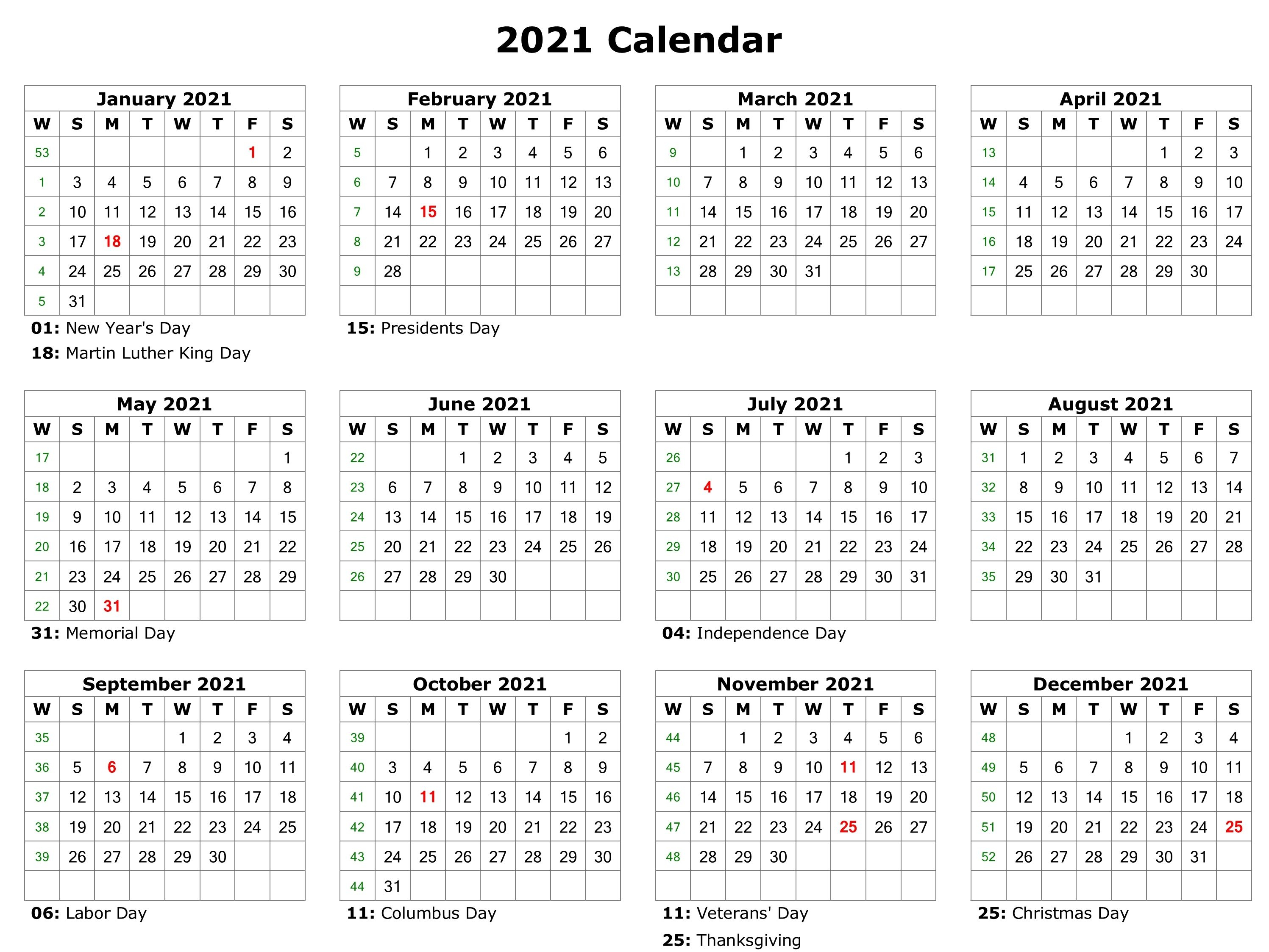 Free Printable 2021 Calendar Excel, Word, Monthly Template With Word Of The Day Calendar 2021
