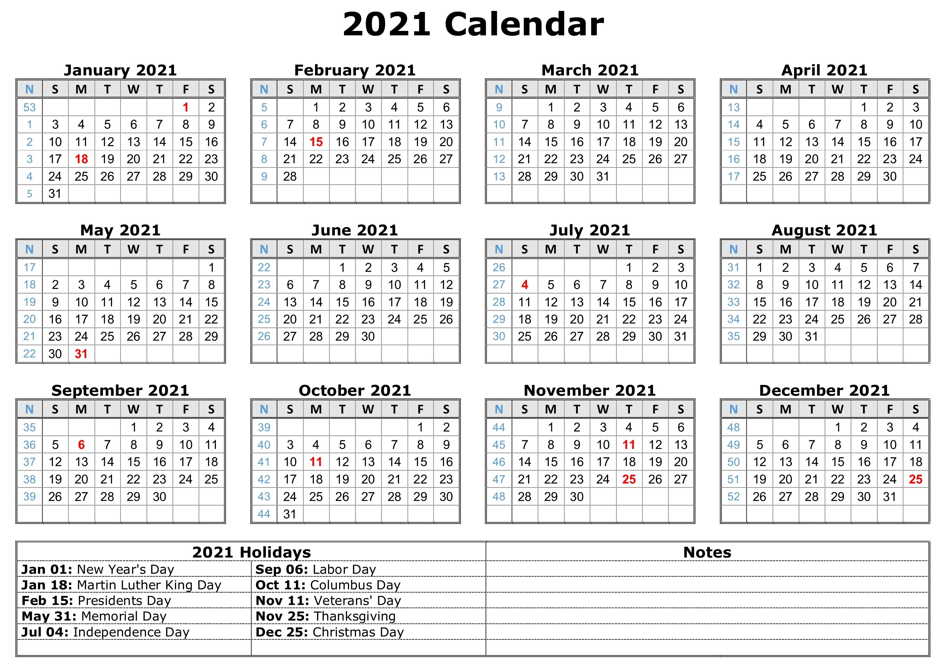 Free Printable 2021 Monthly Calendar With Holidays Word Pdf In Word Of The Day Calendar 2021