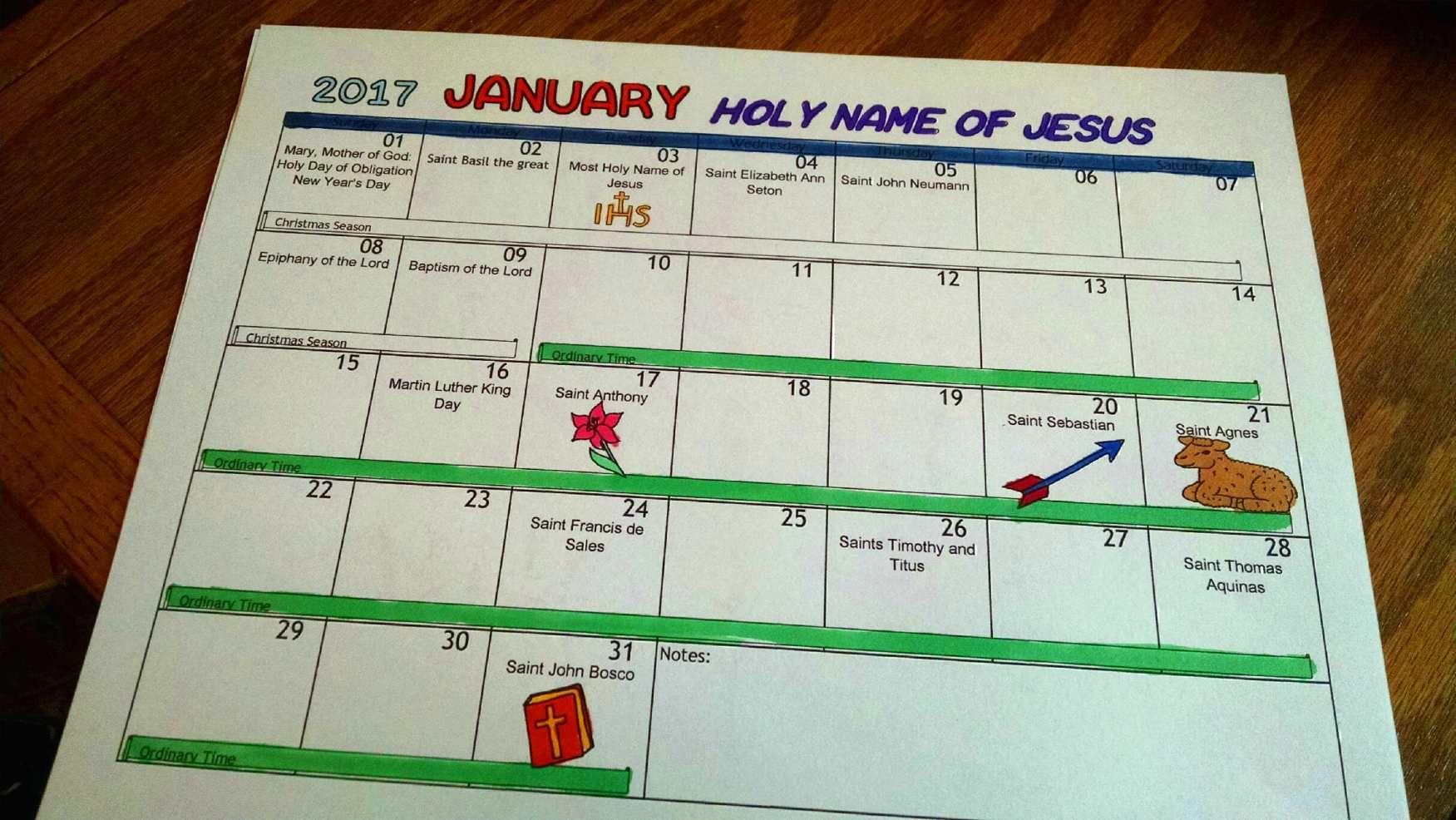 Free Printable Catholic Coloring Calendar 2017 (With Images For Roman Catholic Saint Days Calendar