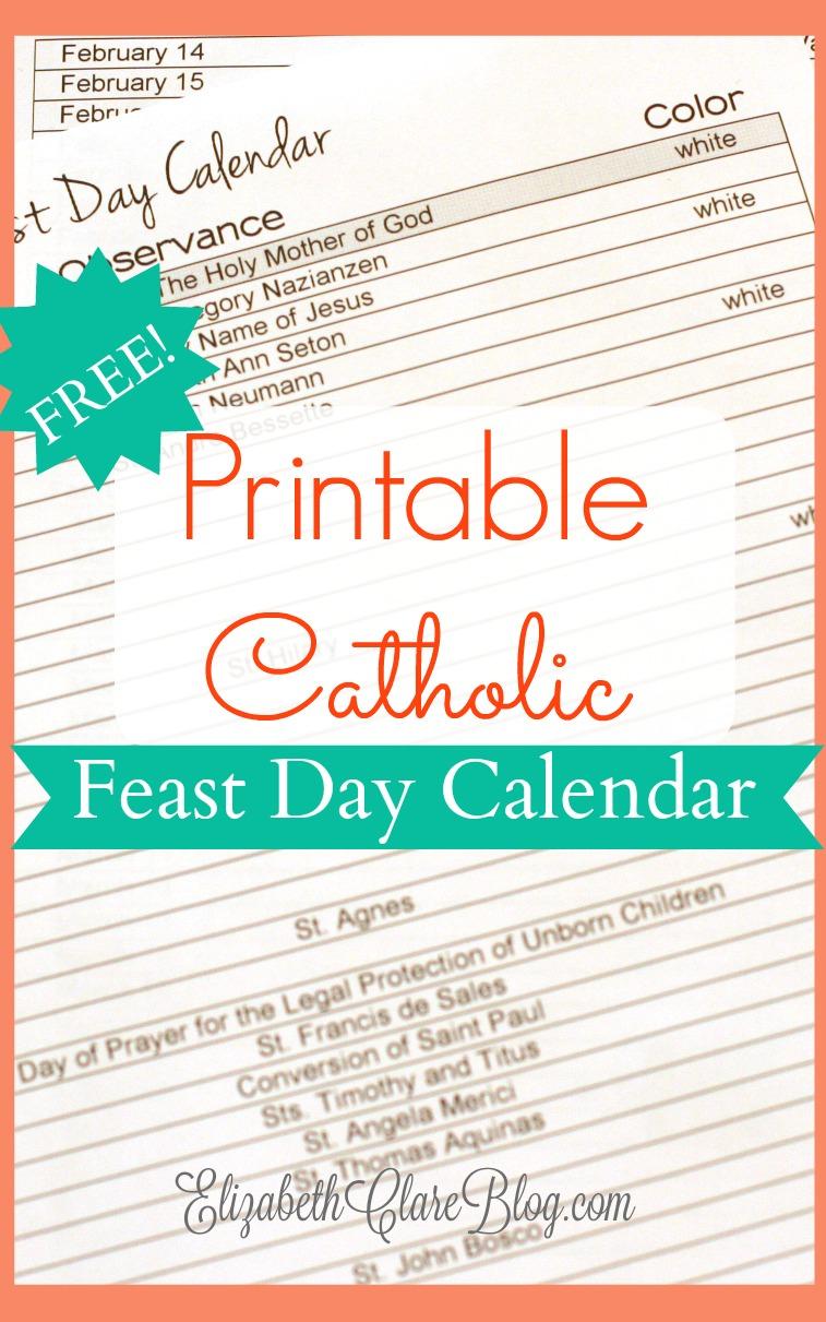 Free Printable Feast Day Calendar - Elizabeth Clare With Regard To Roman Catholic Saint Days Calendar