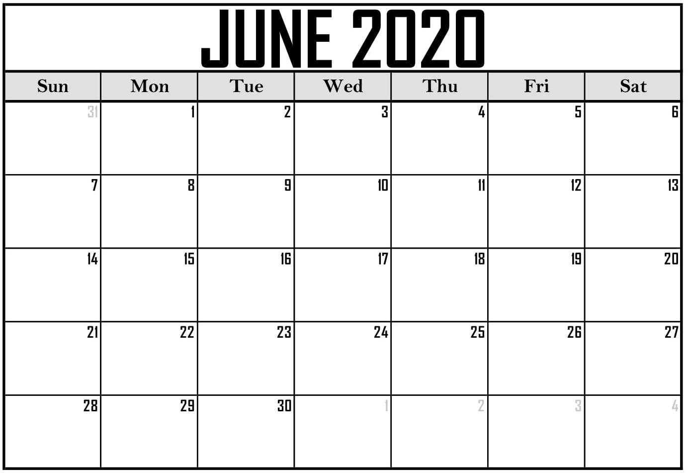 Free Printable June 2020 Calendar With Blank Notes - Set For Free June 2020 Activities Calendar Template Assisted Living Editable