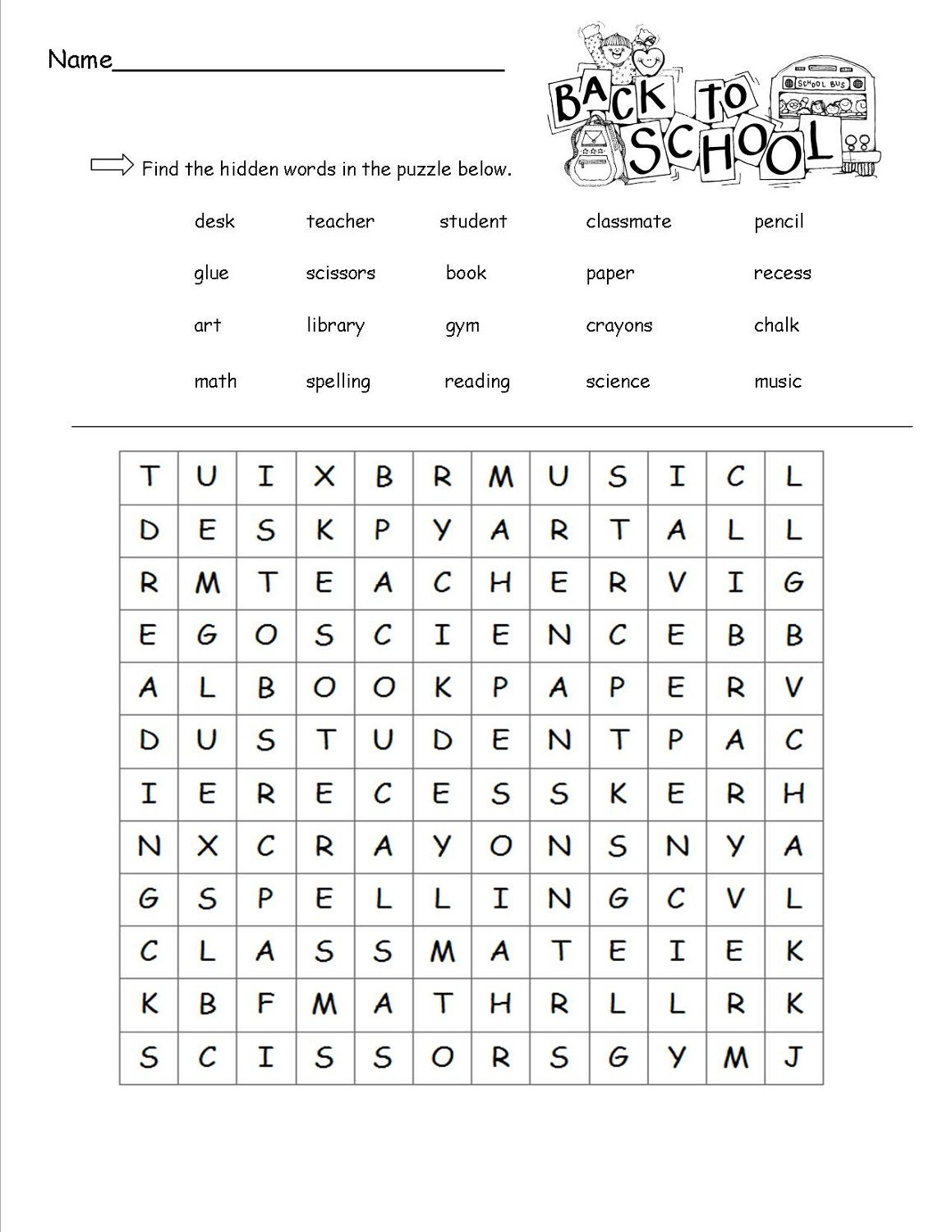 Free Word Search For Kids Pdf (With Images) | Back To School Intended For Word Of The Day Printouts