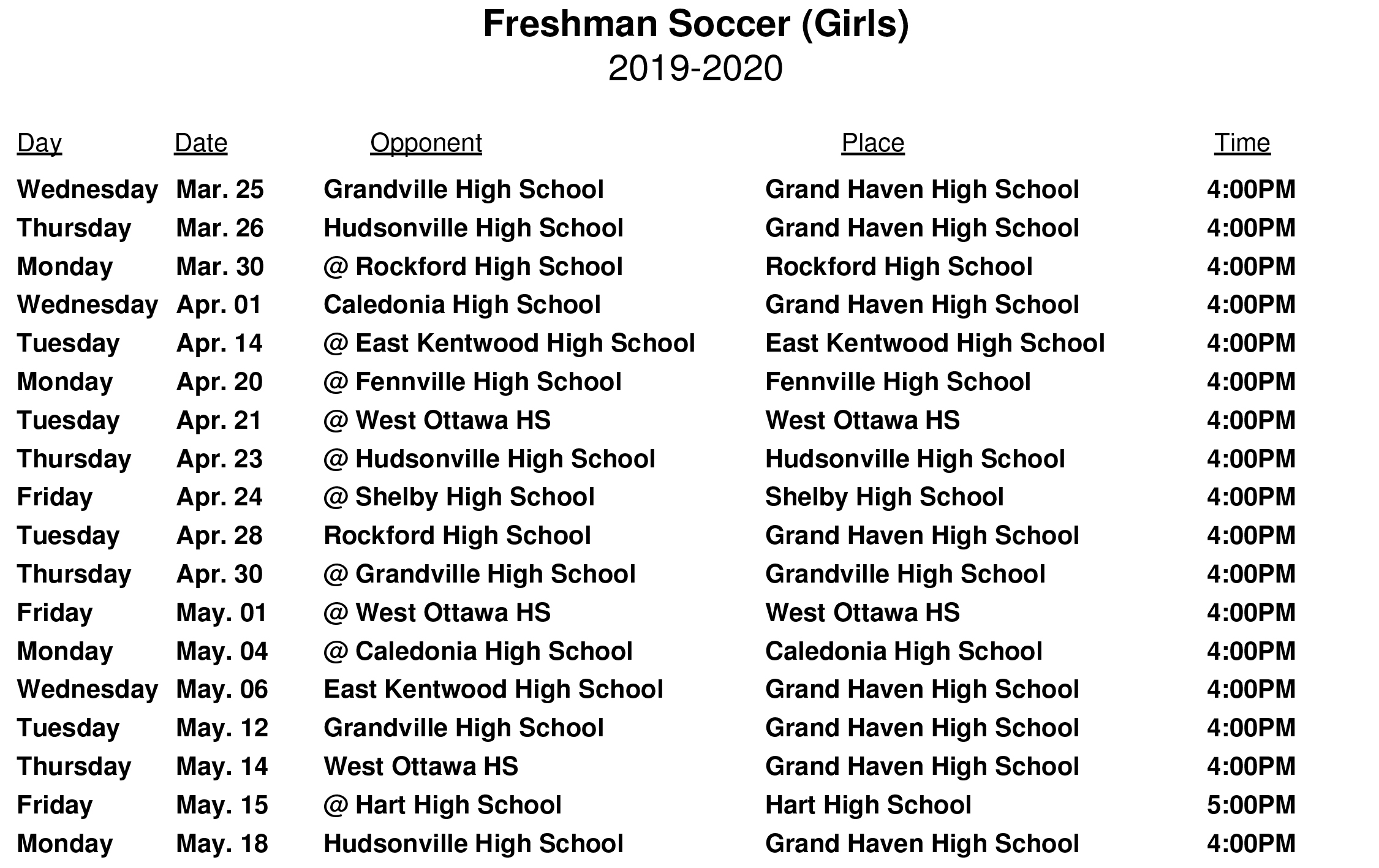 Freshman Girls Soccer Schedule - Grand Haven High School Soccer Pertaining To When Does Grand Haven High School Start School 2020