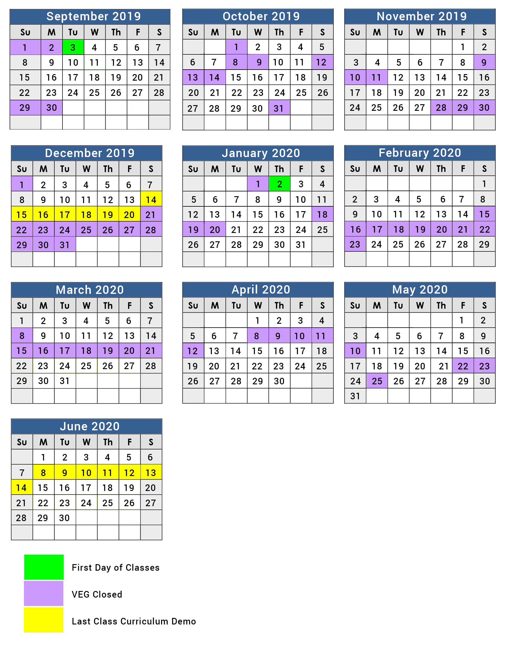 Full Year Program Calendar 2019 – 2020 – Village East Gifted With Regard To Nassau Cc 19 20 Calendar