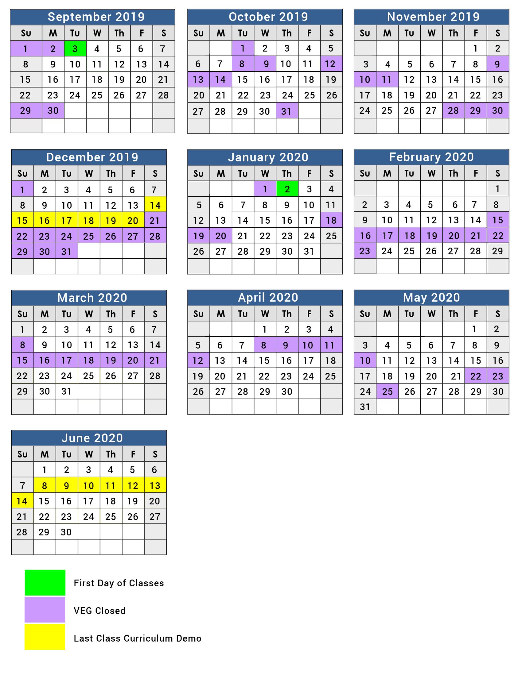 Full Year Program Calendar 2019 – 2020 – Village East Gifted With Regard To Nassau Cc 19 20 Calendar