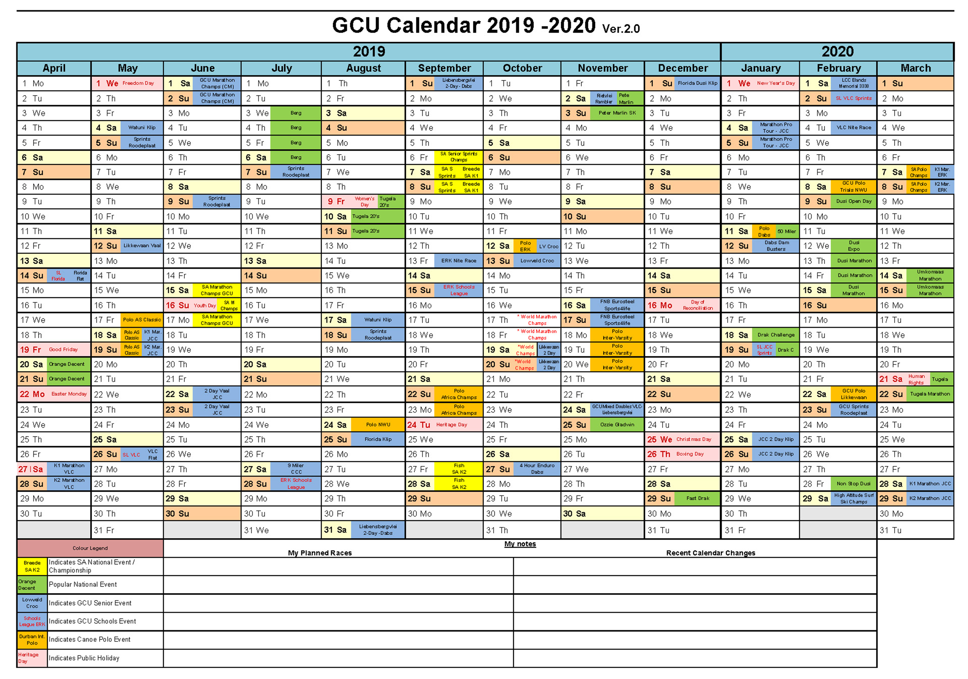 Gcu Calendar-2019-2020 | Gauteng Canoe Union with regard to 2020 Gcu Academic Calendar