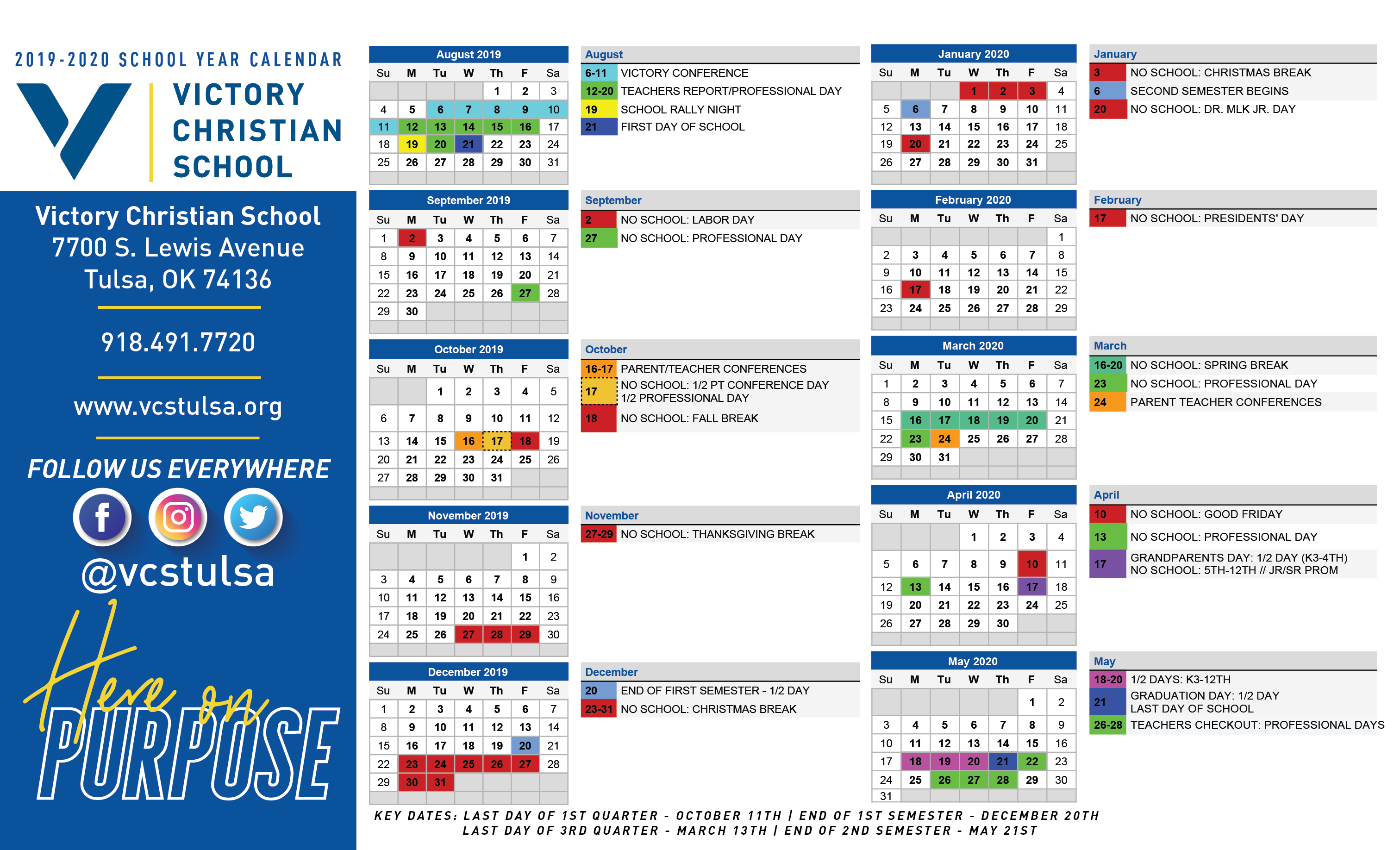 General Calendar 2019 2020 | Victory Christian School Within University Of Tulsa 2021 Calendar
