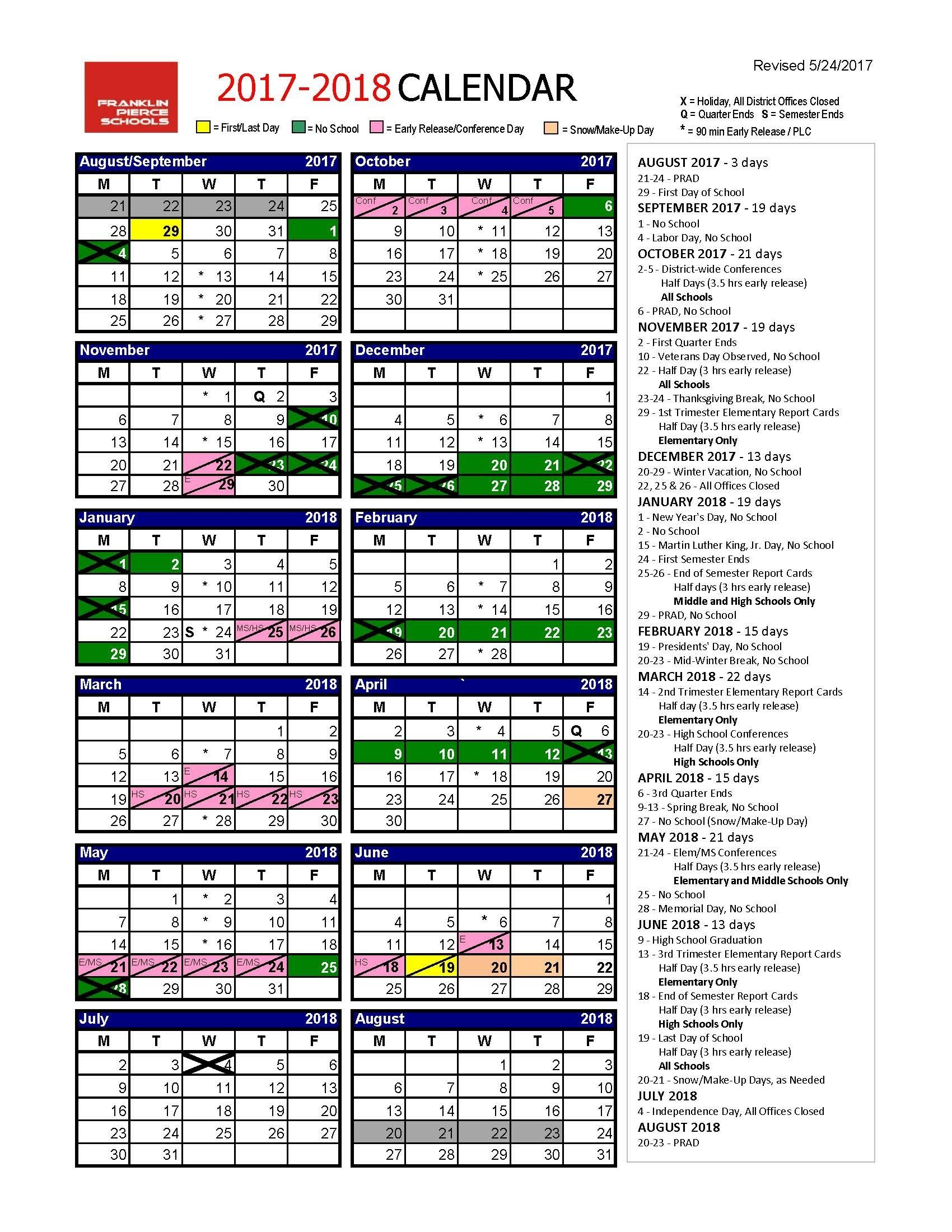 Get 2019 School Term Wa Calendar | School Calendar with regard to Franklin Pierce School District Calendar