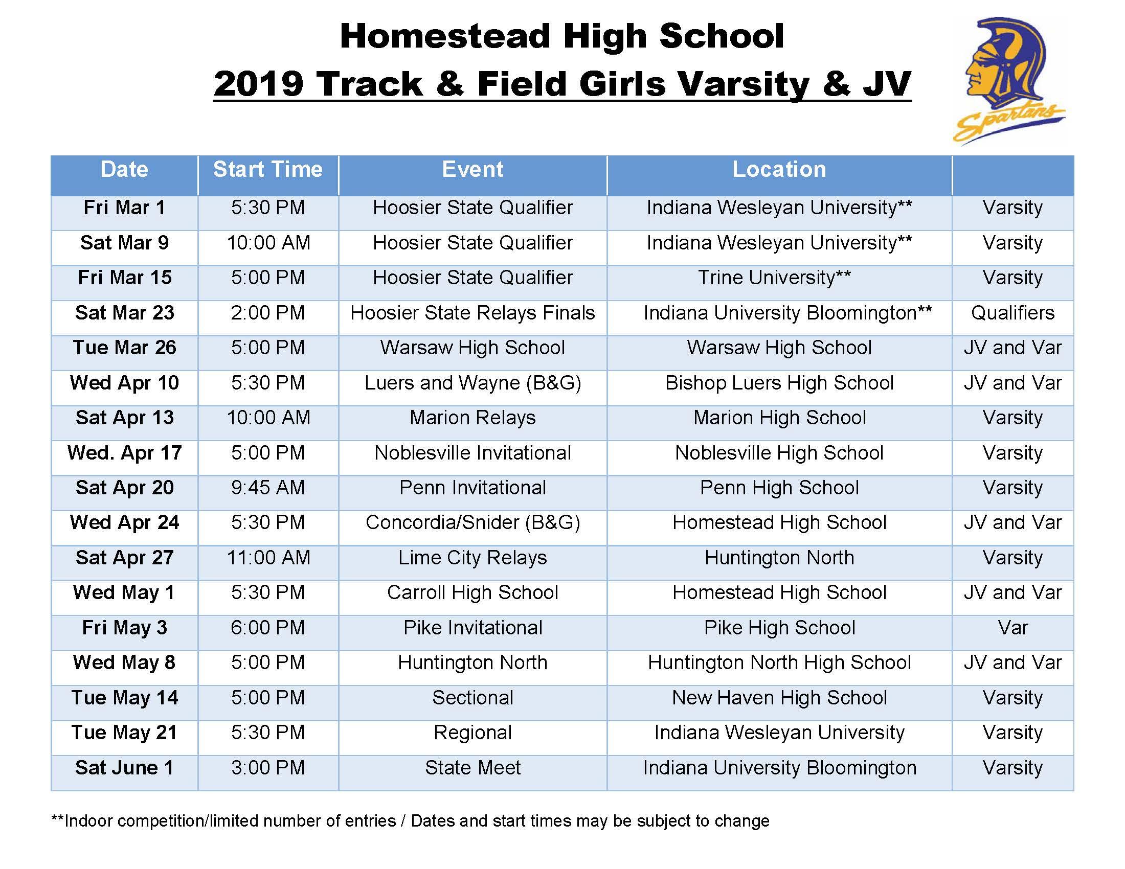 Girls Track And Field - Homestead High School With North Penn High School Calendar
