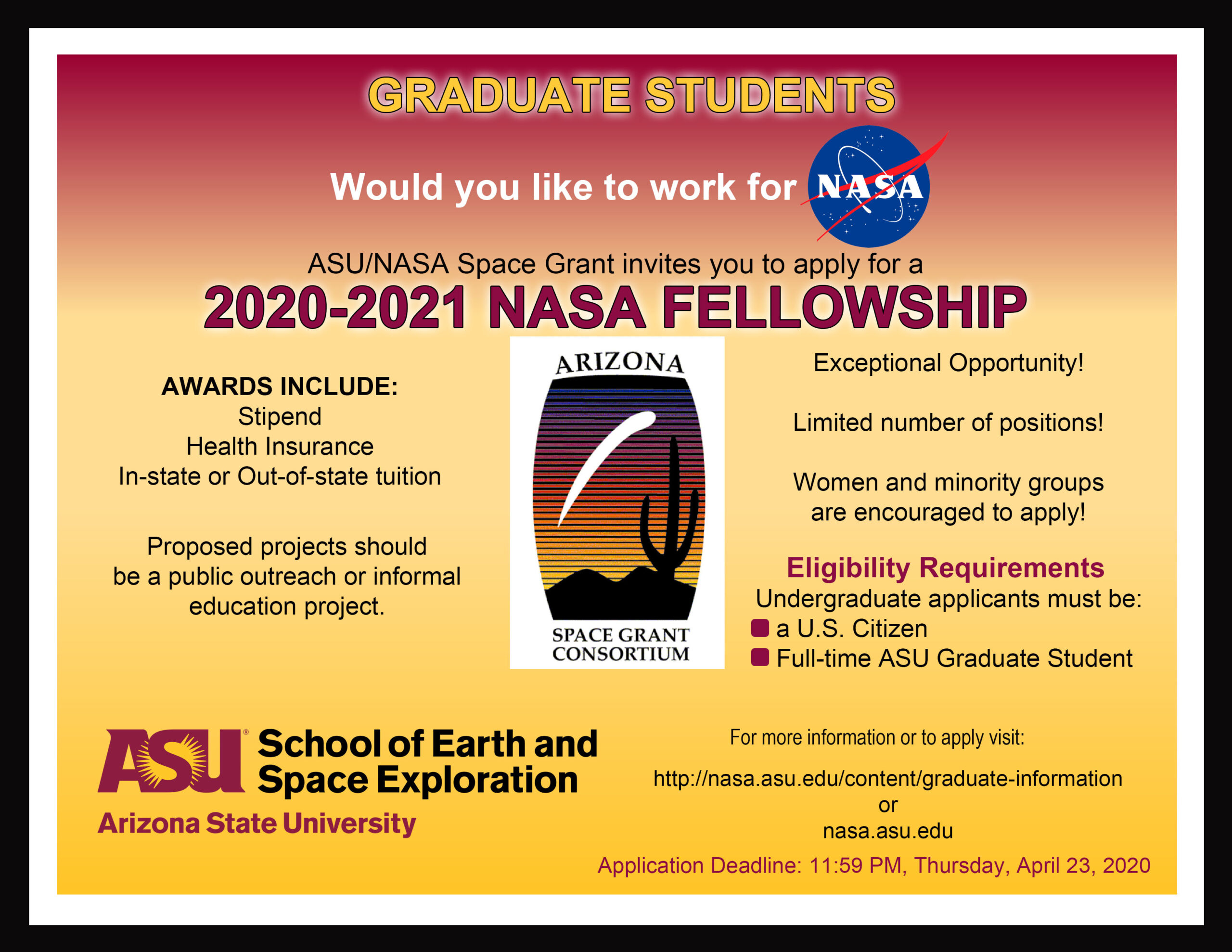 Grad Students: Apply For 2020 2021 Nasa Space Grant Within Arizona State University School Calendar 2021