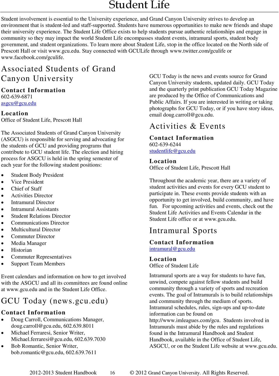 Grand Canyon University Student Handbook - Pdf Free Download With Gcu Academic Calendar