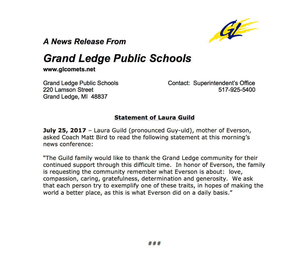 Grand Ledge Student Remembered For Athleticism And Intended For Grand Ledge Public Schools Calendar