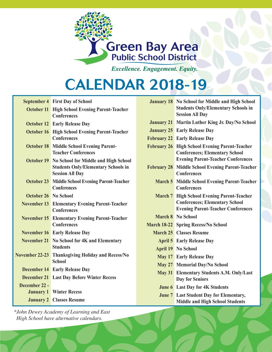 "Greenbayschools On Twitter: ""looking To Plan Ahead For Next with Green Bay School District Calendar"
