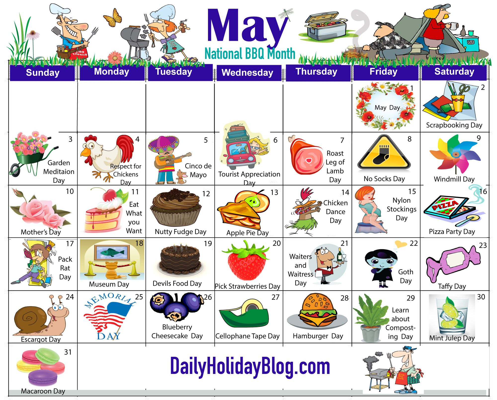 Happy May Day - Here Is A Calendar So You Can Celebrate Within Every Day Is A Holiday Calendar