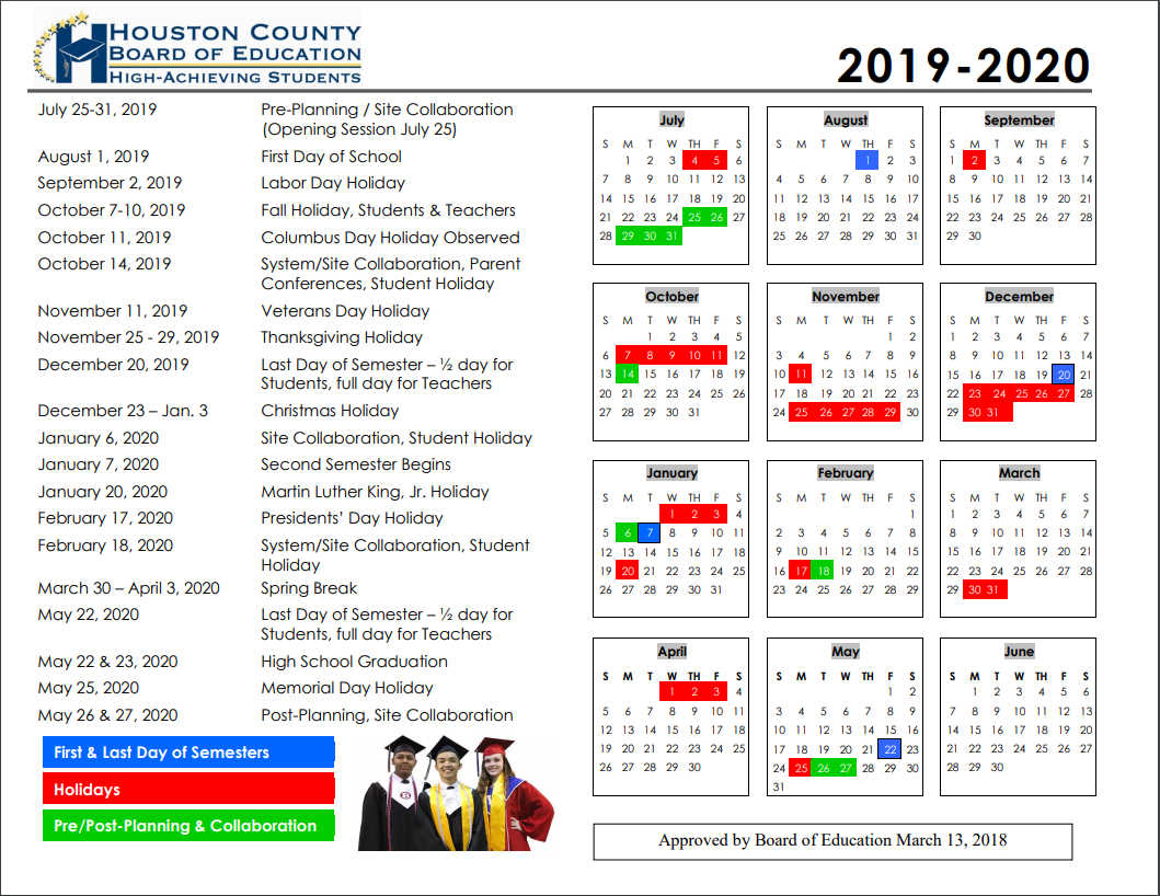 Hcboe Calendars | School Calendars | Houston County Schools Inside Board Of Education Calendar