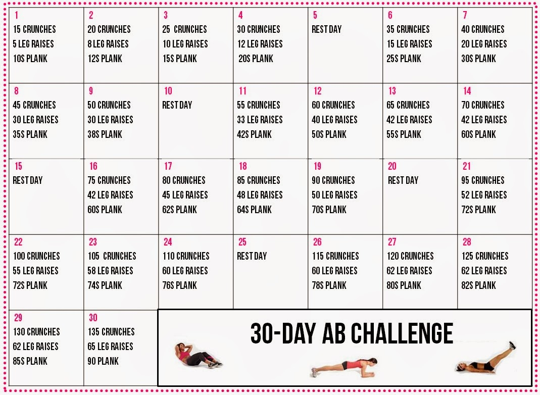 Healthy Living: 30 Day Ab Challenge Calendar With 30 Day Challenge Calendar