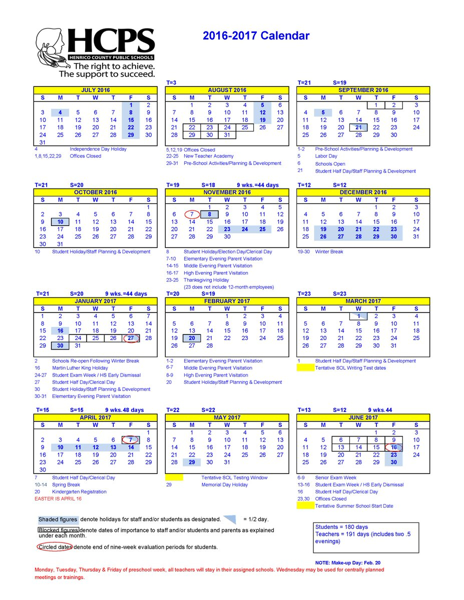 "Henrico Schools On Twitter: ""2016-17 School Calendar: Https in Davidson County Tn School Calendar20"
