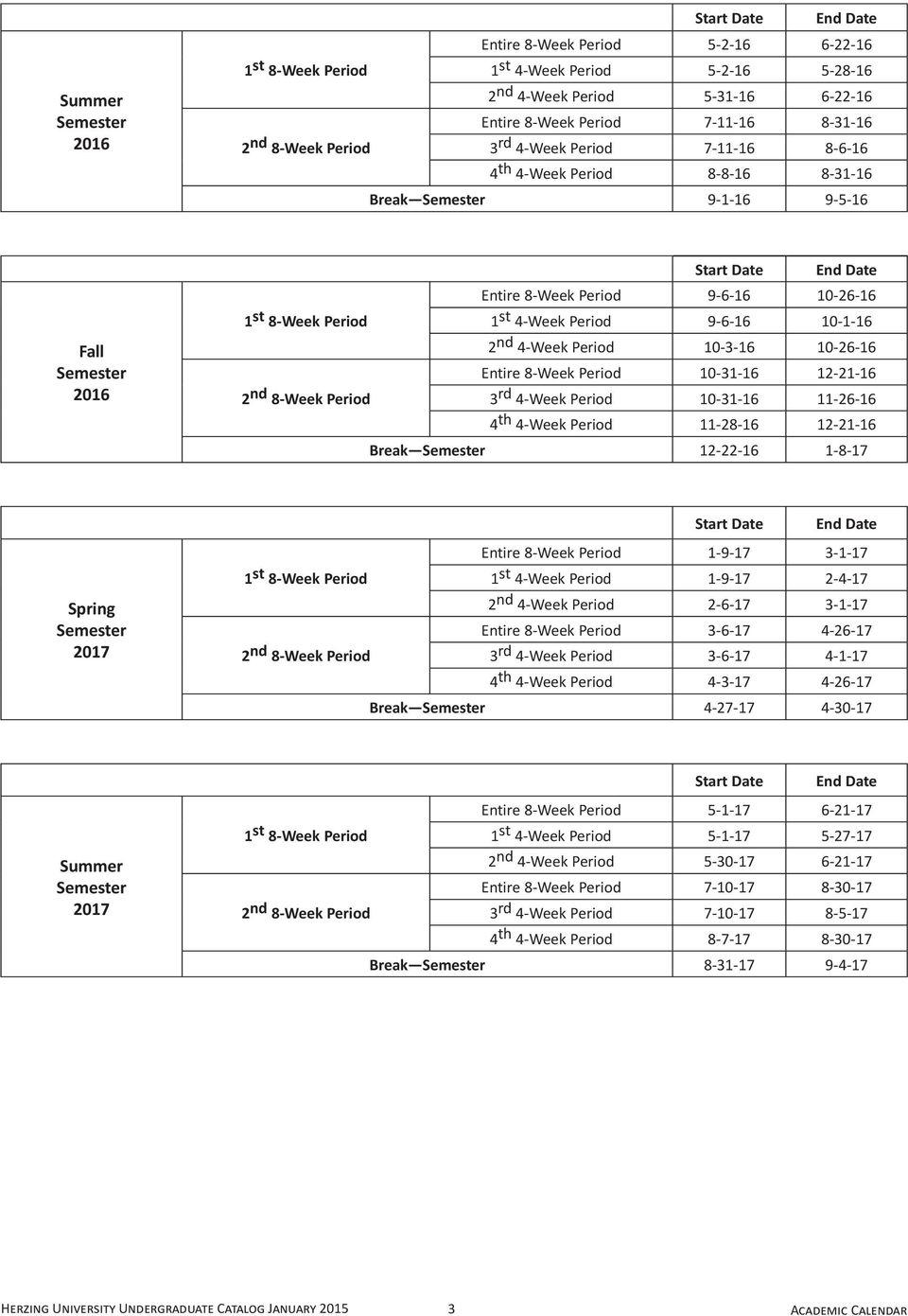 Herzing University Academic Calendar – Pdf Free Download With Regard To University Of Akron Holiday Calendar
