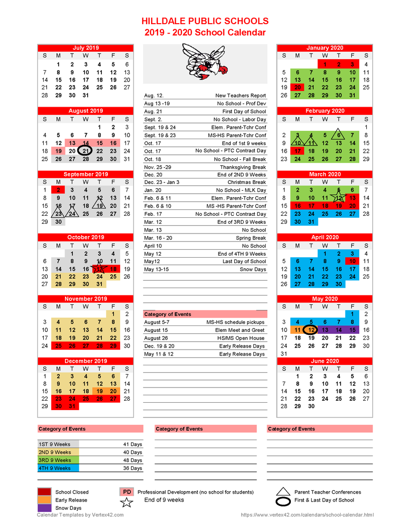 Hilldale Public Schools – **revised**2019 2020 School Intended For East Orange H S Calendar