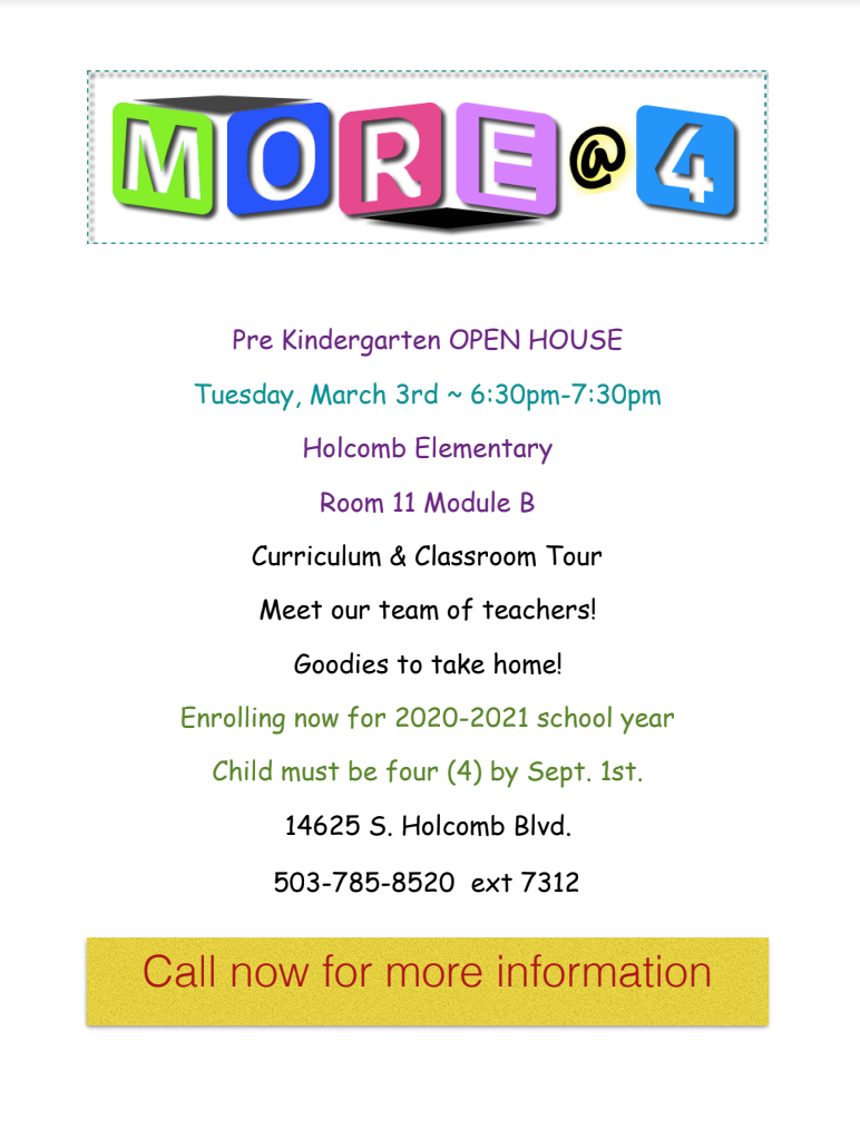 Holcomb More@ 4 Pre Kindergarten Open House | Oregon City With Regard To Ogden City School Calendar 2021