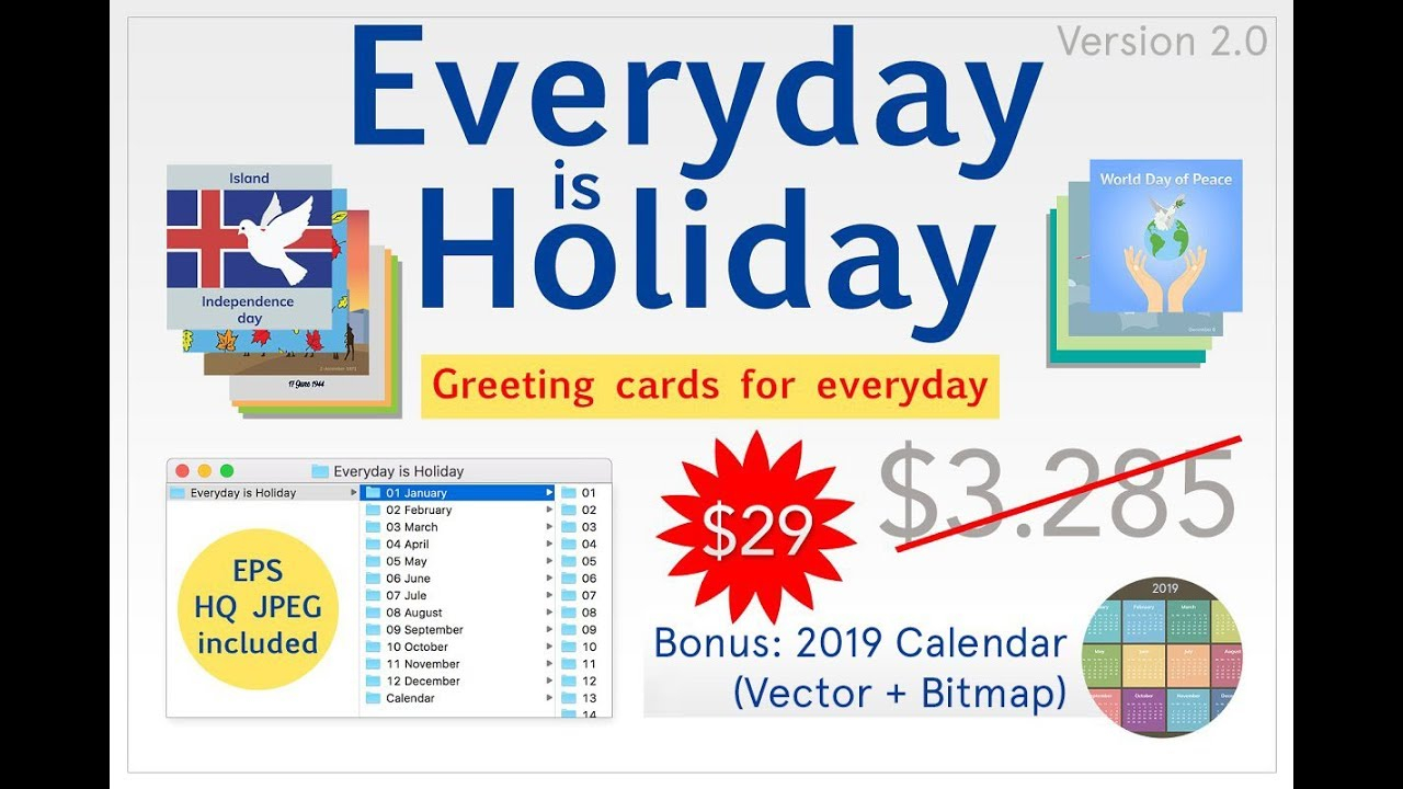 Holiday Is Everyday Big Bundle Of Greeting Cards Eps + Jpg 2019 In Everyday Is A Holiday Calendar