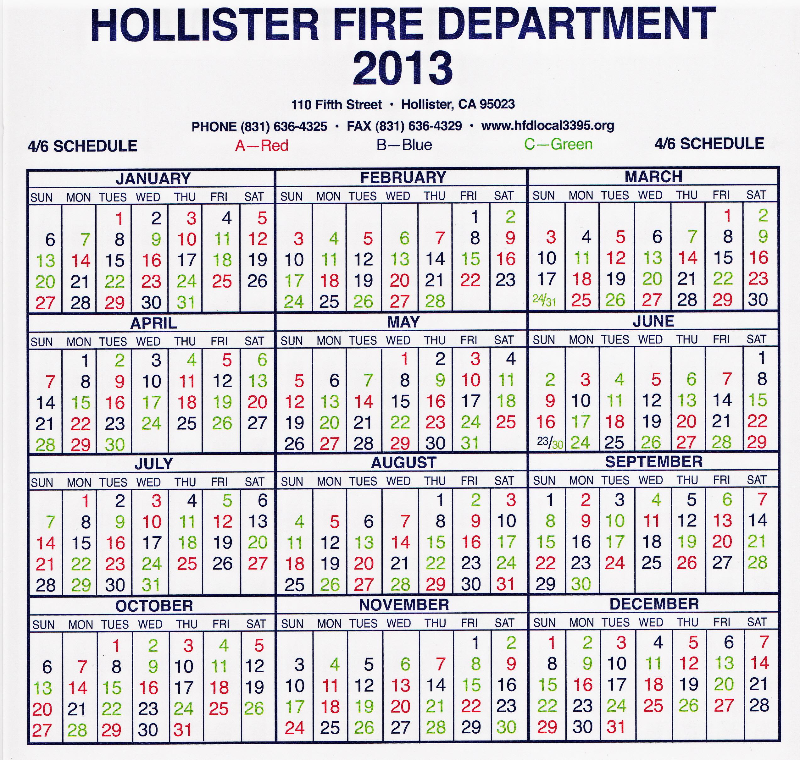 Hollister Fire Department Local 3395 - Shift Calendar Throughout Houston Fire Department Shift Calendar