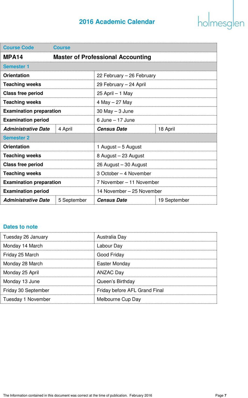 Holmesglen Higher Education Academic Calendar Pdf Free Download In University Of Melbourne Academic Calendar