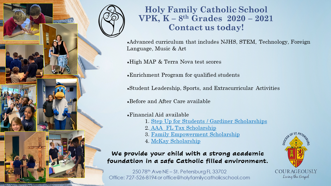 Holy Family Catholic School In St Petersburg College Calendar 2021
