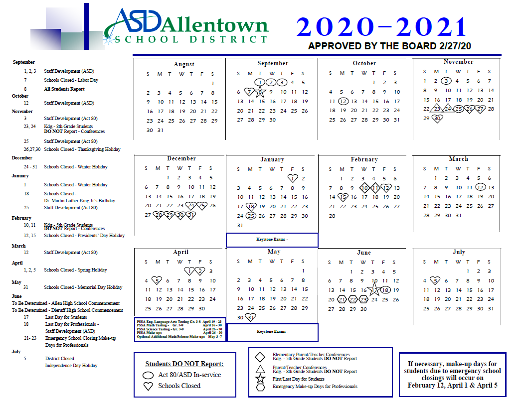 Home - Allentown School District With Bethlehem Area School District Calendar 2021