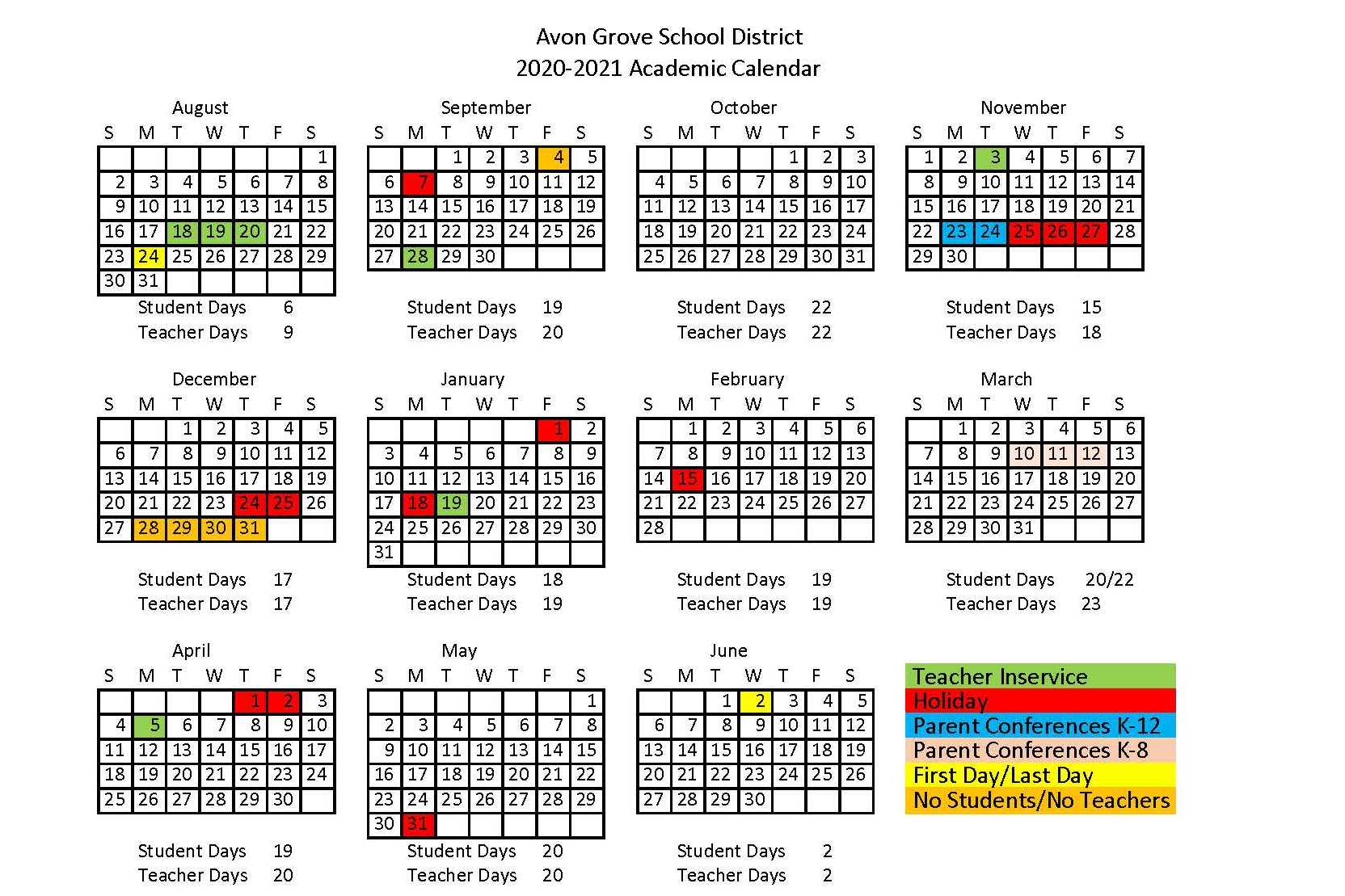 Home - Avon Grove School District Throughout Harrison School District 2 Calendar 2021