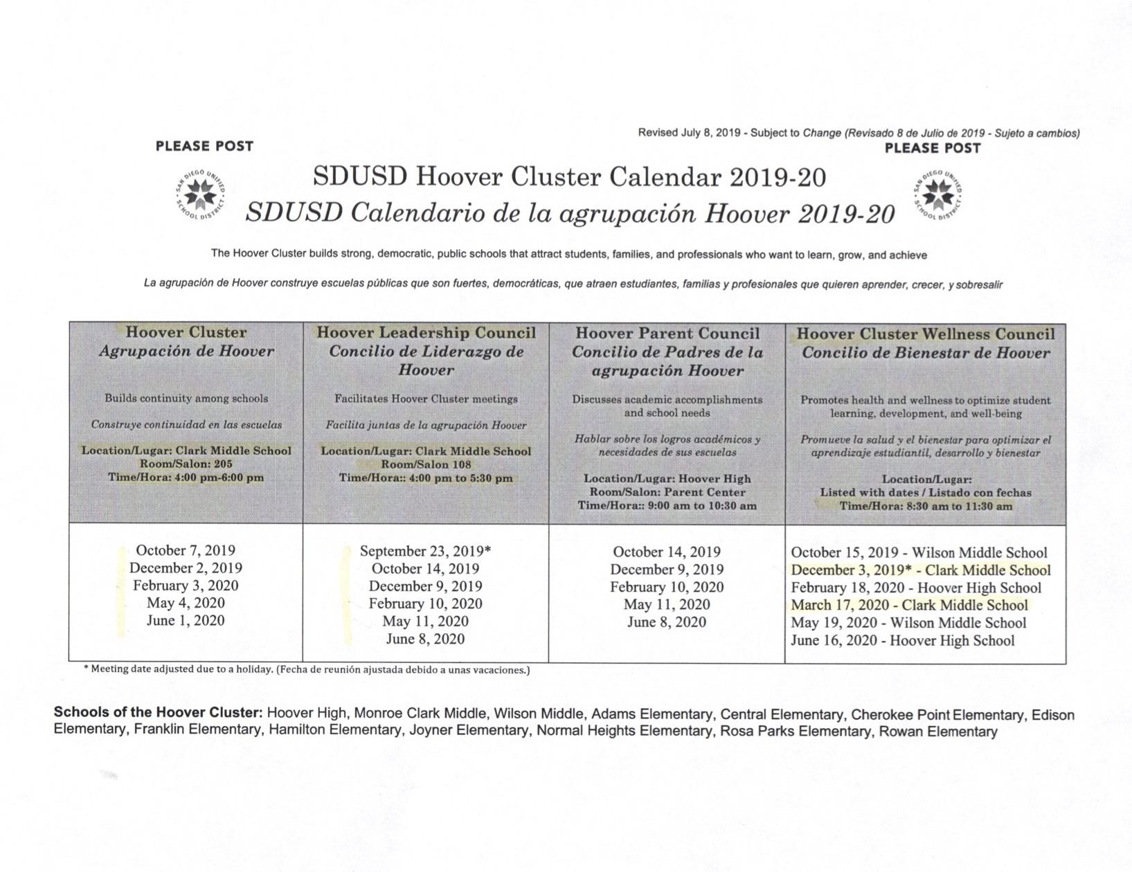 Hoover Cluster Info & Calendar 2019 20 | Clark In Monroe Clark Middle School Calendar