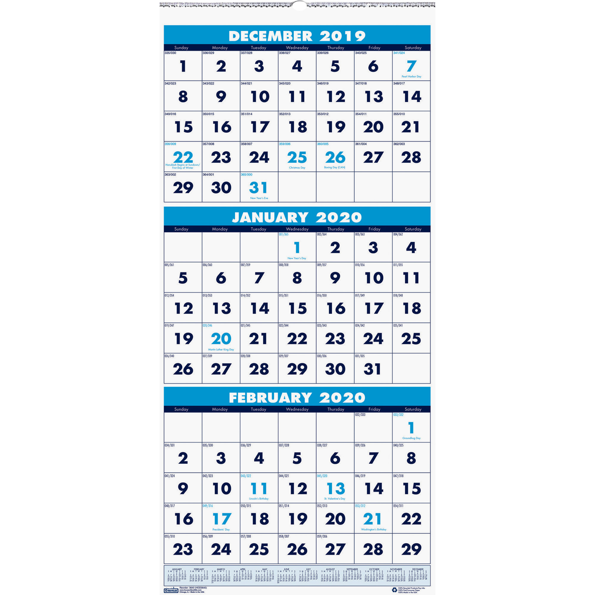 "House Of Doolittle Three Month Vertical Wall Calendar – Monthly – 1.2 Year  – December 2019 Till January 2021 – 3 Month Single Page Layout – 12 1/4"" X Throughout Houston County Ga Calendar 2021 2021"