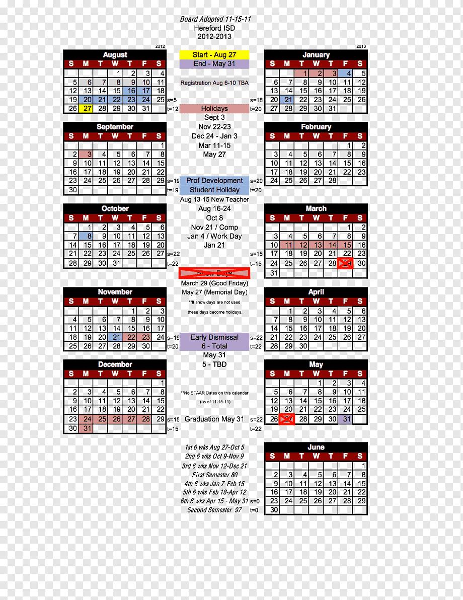Houston Independent School District Calendar 0 1, Hereford Inside Mifflin County School District Calender 20 21