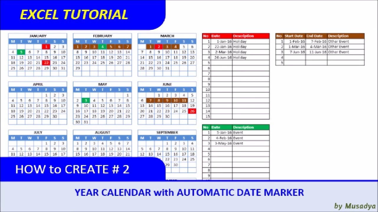 How To Create Excel Calendar For Specific Year With Automatic Date Marker With Convert Excel To Calendar View