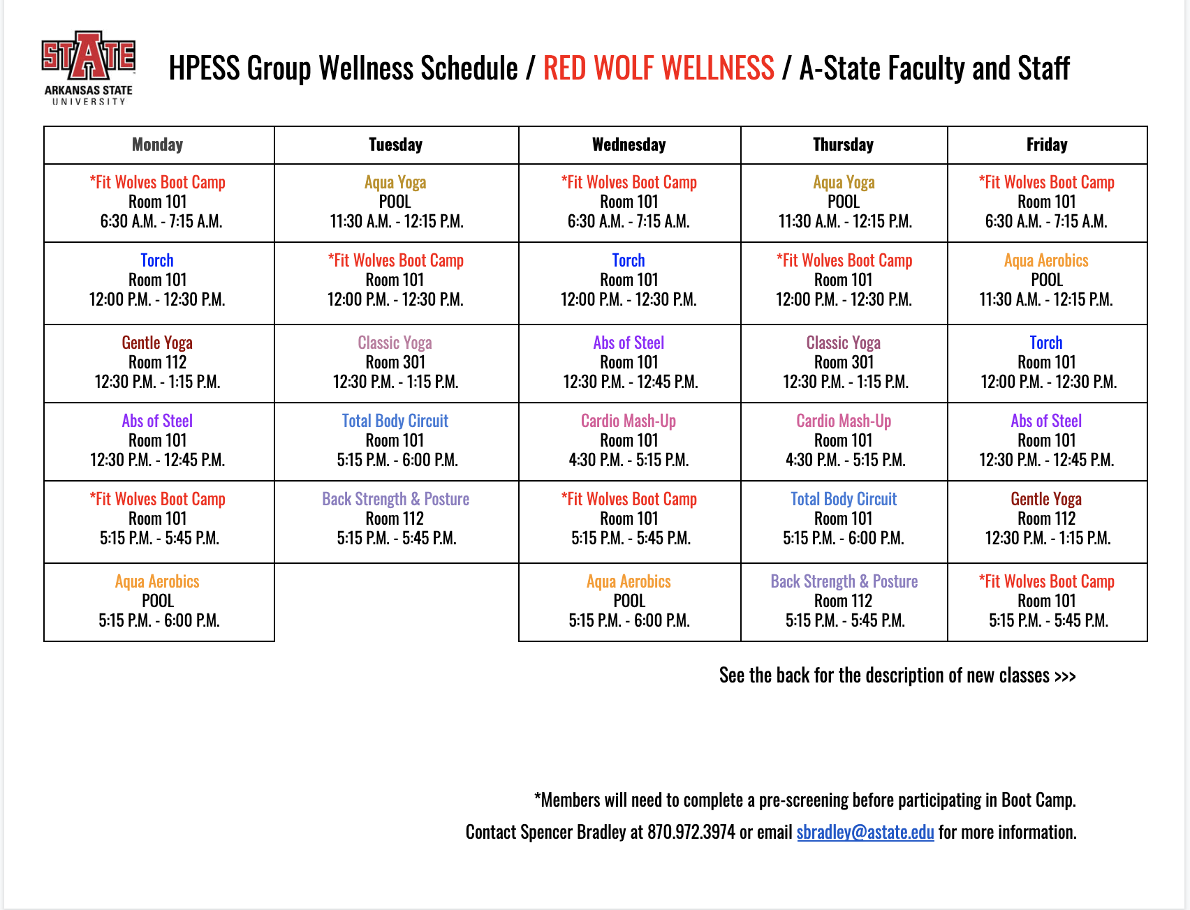 Hpess Group Wellness Schedule Within Arkansas State University Holiday Schedule