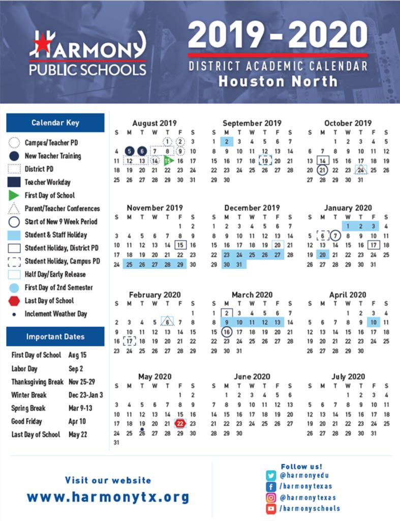 Hse Academic Calendar – Harmony School Of Excellence – Houston Pertaining To Houston County Board Of Education Calendar