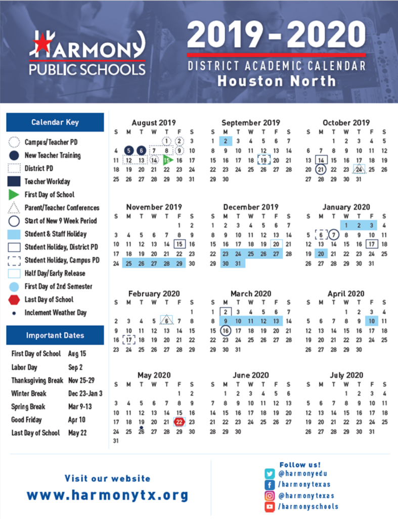 Hse Academic Calendar – Harmony School Of Excellence – Houston With Regard To New Caney School Calendar