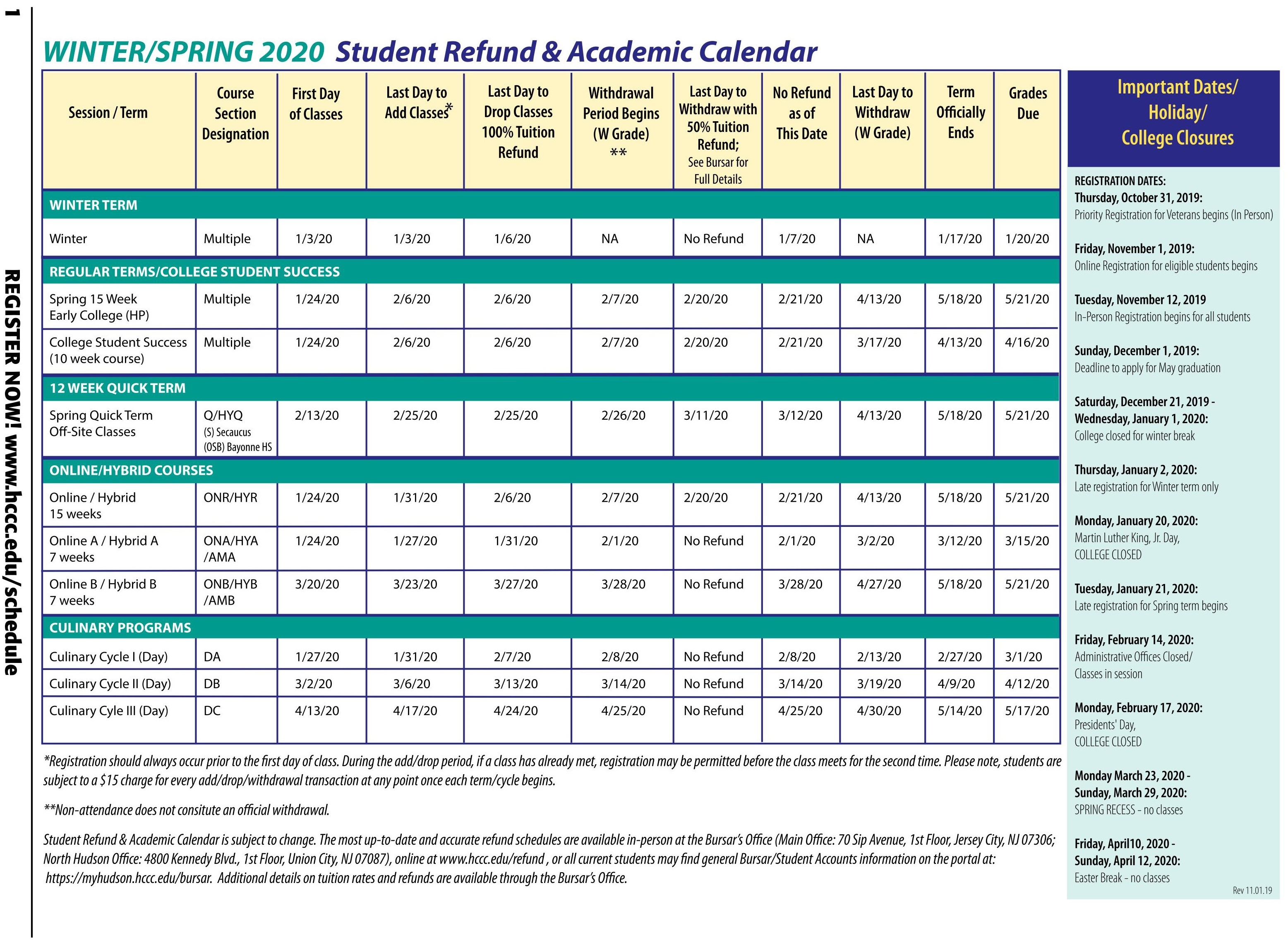 Hudson County Community College pertaining to 2020 Nassau Community College Academic Calendar