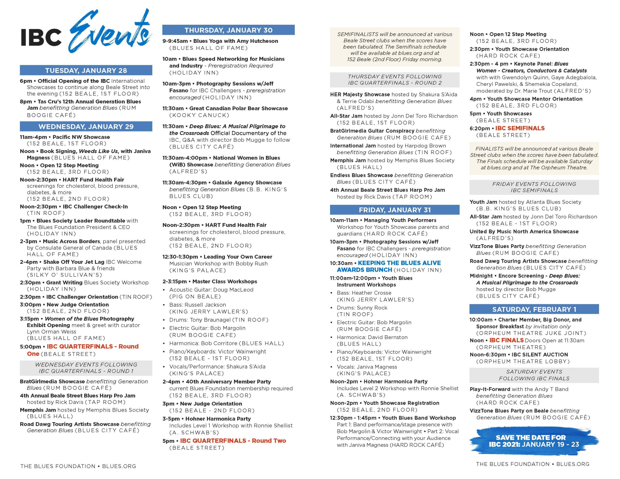 Ibc Event Program – Blues Foundation For Blues Alley Schedule 2021