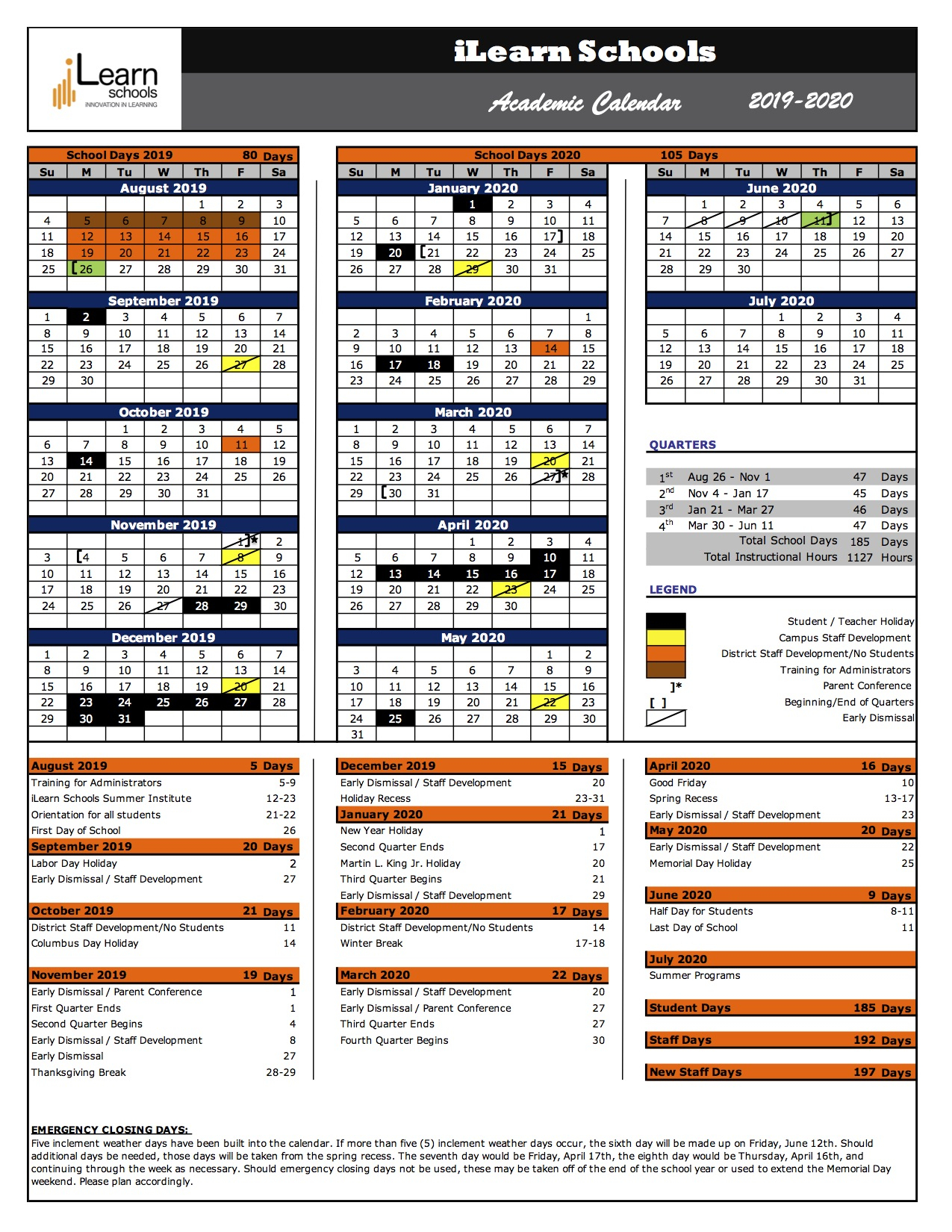 Ilearn Schools 2019 2020 Academic Calendar – Ilearn Schools Inside Brookdale Community College Calendar
