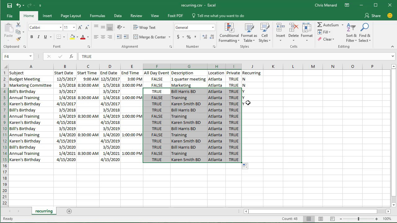 Import Csv File With Recurring Events Into Google Calendarchris Menard With Convert Excel Data To Calendar