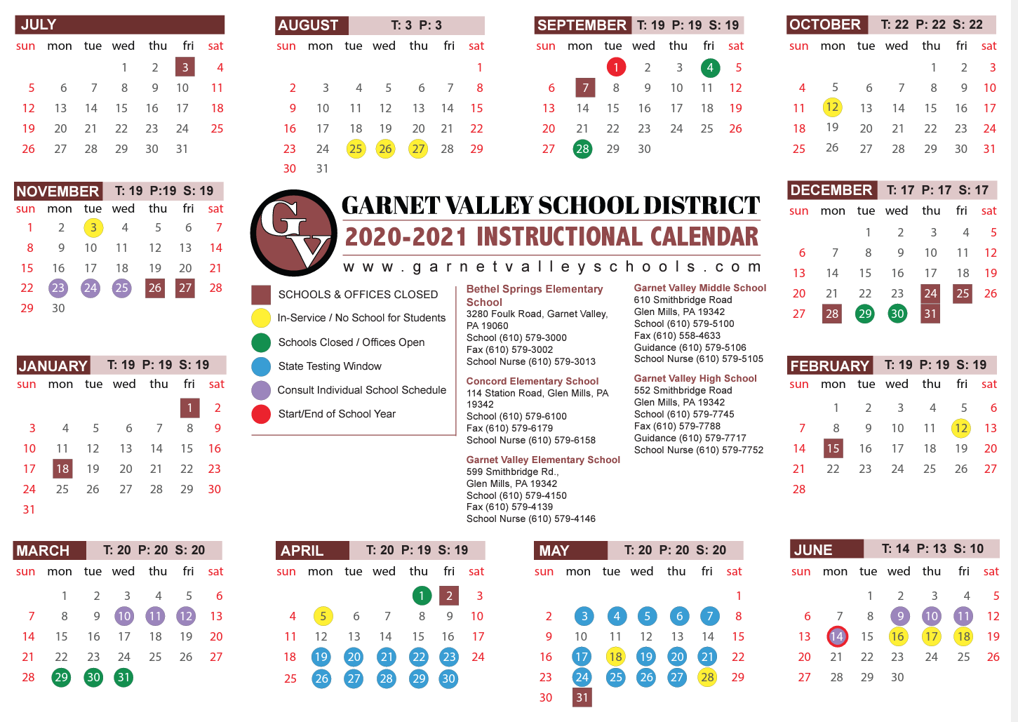 Important School Calendar Announcement – Garnet Valley With Regard To Post Falls High School Calendar