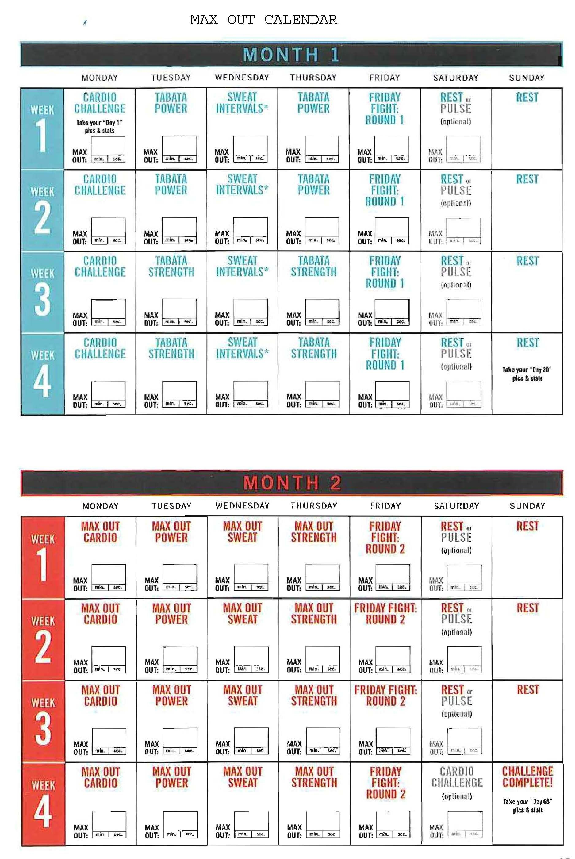 Insanity Max Out Calendar! Hit Tha Floor – Starting 12/15/14 Within Supreme 90 Day Calendar Pdf