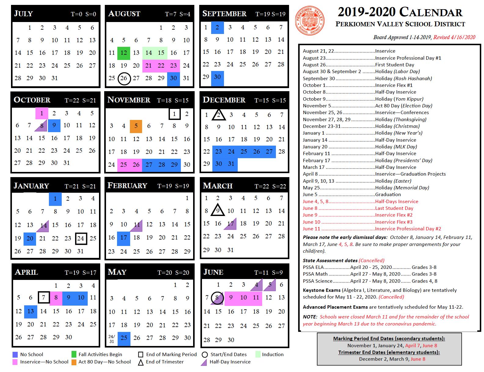 Instructional Calendar - Perkiomen Valley School District Throughout Ben Davis High School Calendar 2021