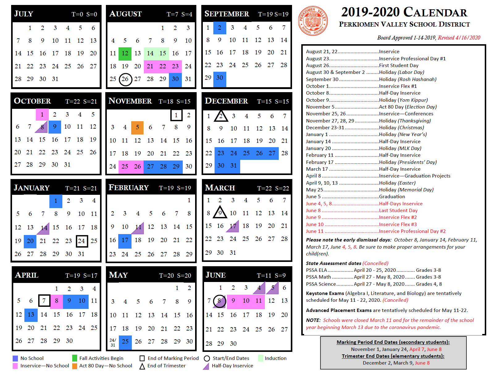 Instructional Calendar – Perkiomen Valley School District Throughout William And Mary 2021 20 Calendar