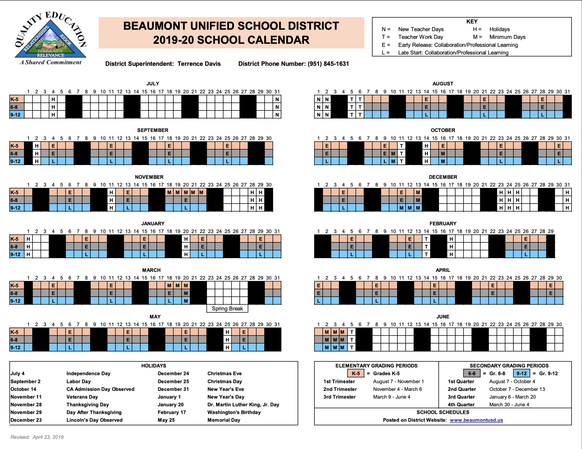 Instructional Calendars – Schools – Beaumont Unified School Within Fontana School District 12 Month Employee Calendar