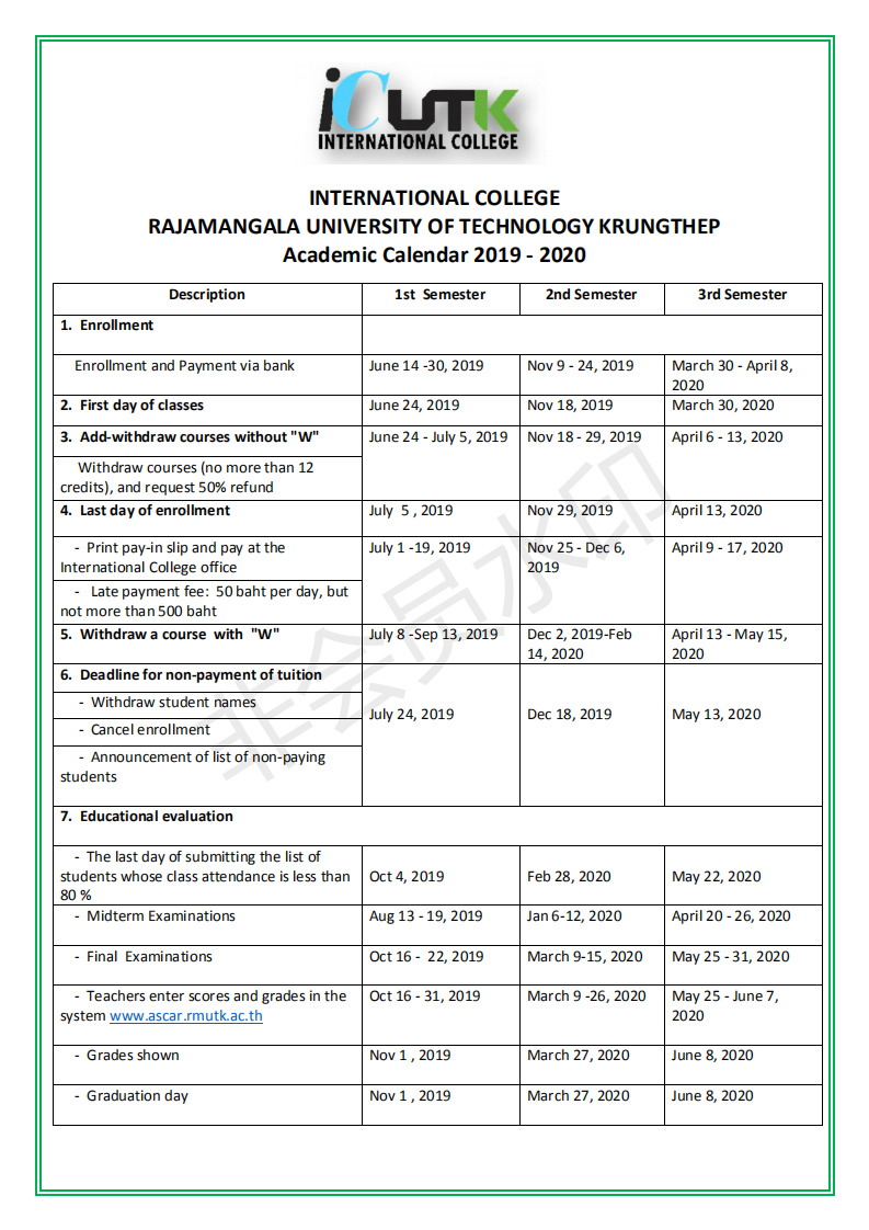 International College Rajamangala University Of Technology With 2021 2020 Gcu Academic Calendar