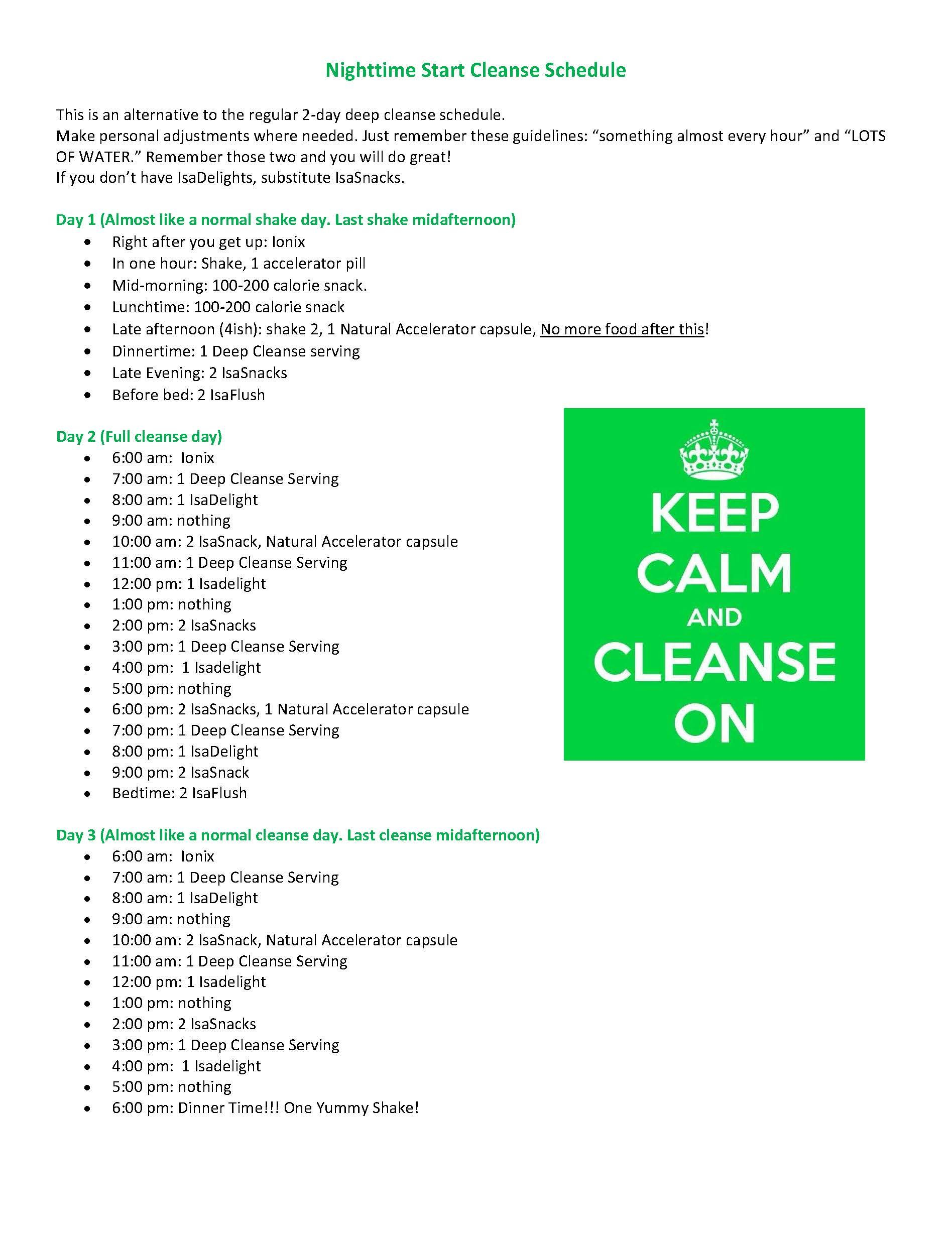 Isagenix Night Time Start Cleansing Schedule | Isagenix Pertaining To Isagenix Shake Day Schedule Printable