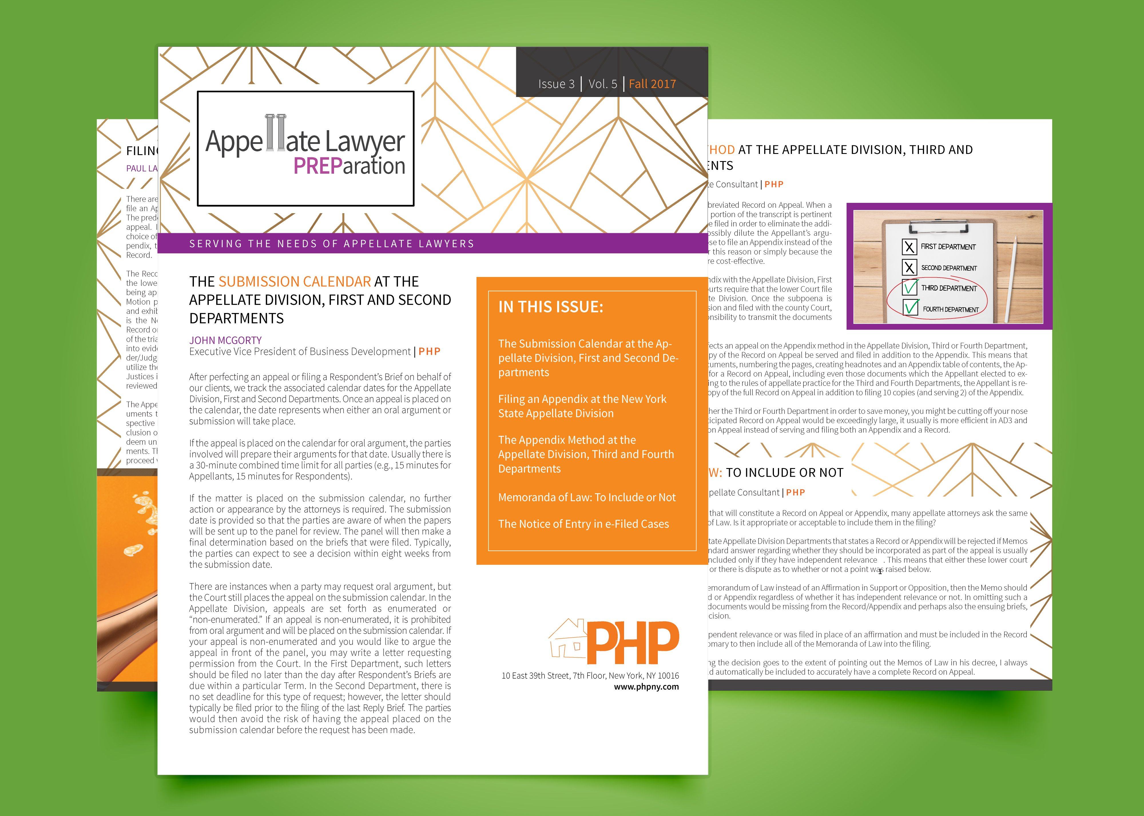 Issue 3 | Vol. 5 | Fall 2017 - Php In Appellate Divisiohjn Seconf Dept Calendar